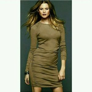 Moda International Brown Ruched Sweater Dress Sexy Fit Stretch Cotton Sm
